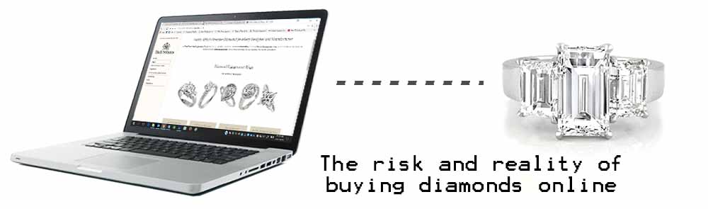 Buying Diamonds Online | A laptop and diamond ring illustrating the risks of buying diamonds online