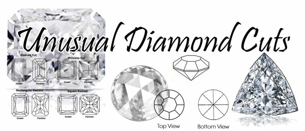 unusual diamond cuts | a selection of unusual diamond cut including trilliant diamond, rose cut diamond and shield cut diamond