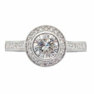 Round Brilliant Halo Ring Set In 18 Carat White Gold | Diamond Rings