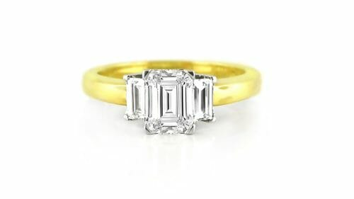 Emerald Cut & Baguette Diamond Trilogy Ring