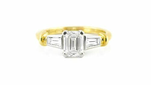 Emerald Cut & Tapered Baguette Diamond Trilogy Ring
