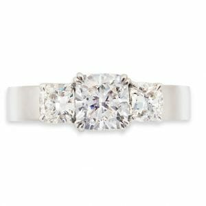 Cushion Cut Diamond Trilogy Ring | Diamond Engagement Ring Set In 18 Carat White Gold