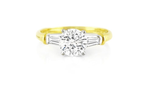 Round & Tapered Baguette Diamond Trilogy Ring - Yellow Gold