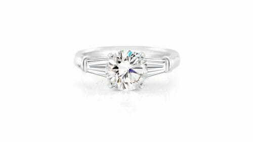 Round Diamond & Tapered Baguette Trilogy Ring