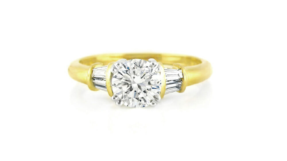 Round and Multi-Baguette Diamond Trilogy Ring- Yellow Gold