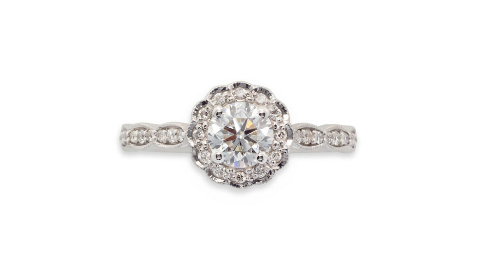 Floral Diamond Halo Ring | Diamond Ring Crafted in 18 Carat White Gold