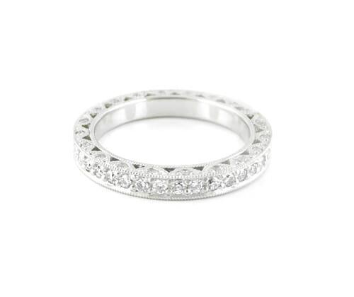 Eternity Ring 001 | Antique inspired platinum eternity band | Diamond Eternity Ring | Diamond Wedding Ring