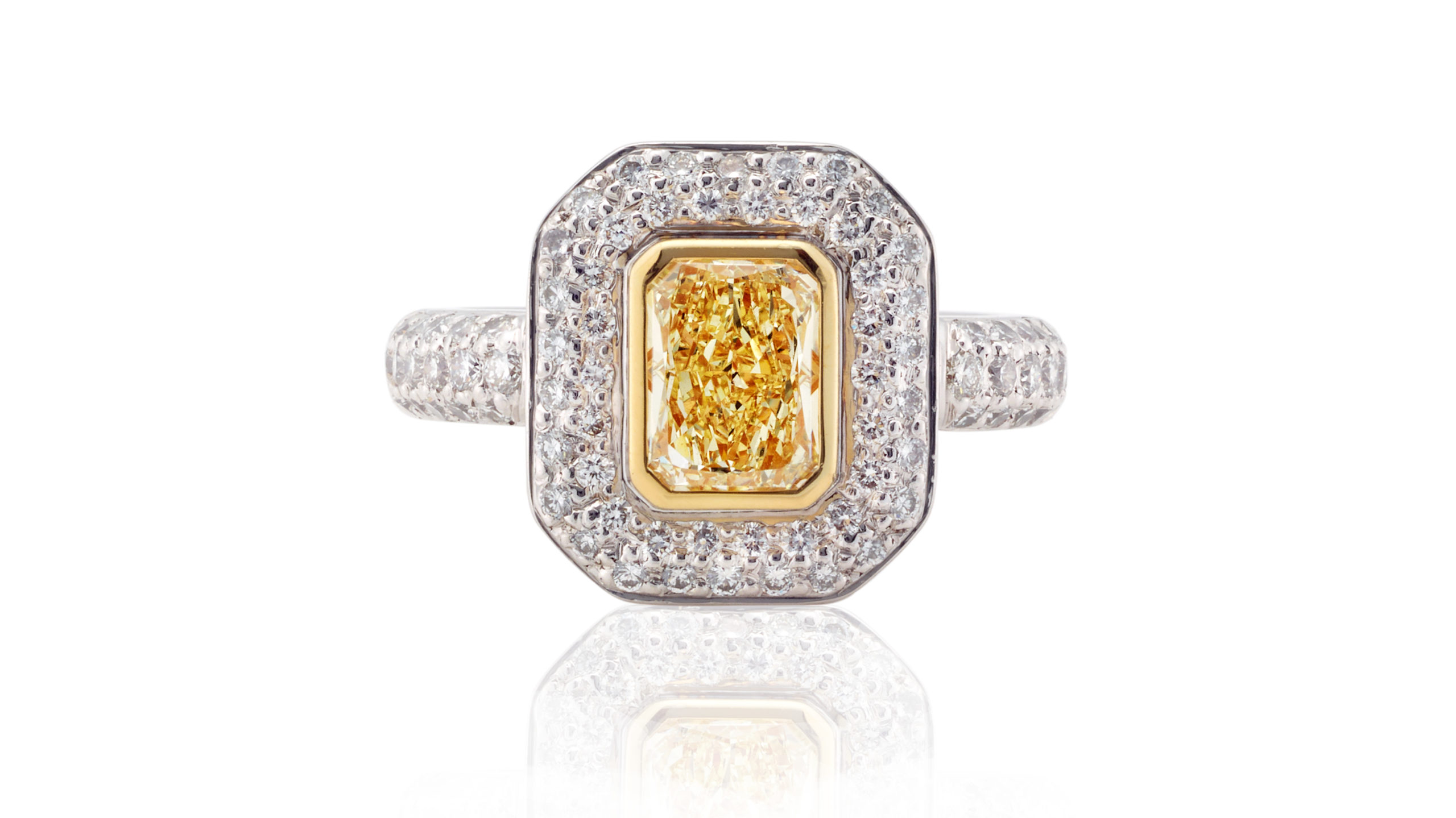 Radiant Yellow Diamond Halo Ring |White Gold Diamond Dress Ring | A Radiant Cut Yellow Diamond Surrounded By A Halo Of White Diamonds