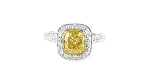 Cushion-Cut Yellow Diamond Halo Ring