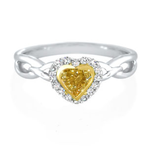 Heart-shaped Yellow Diamond Halo Ring