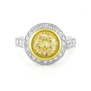 round brilliant yellow diamond halo ring