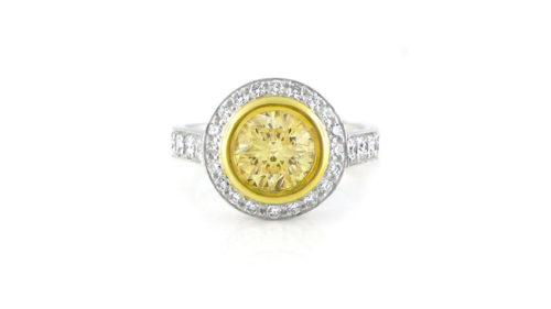 round brilliant yellow diamond haloring