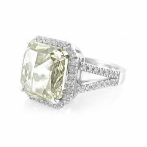 Vintage-style platinum halo ring