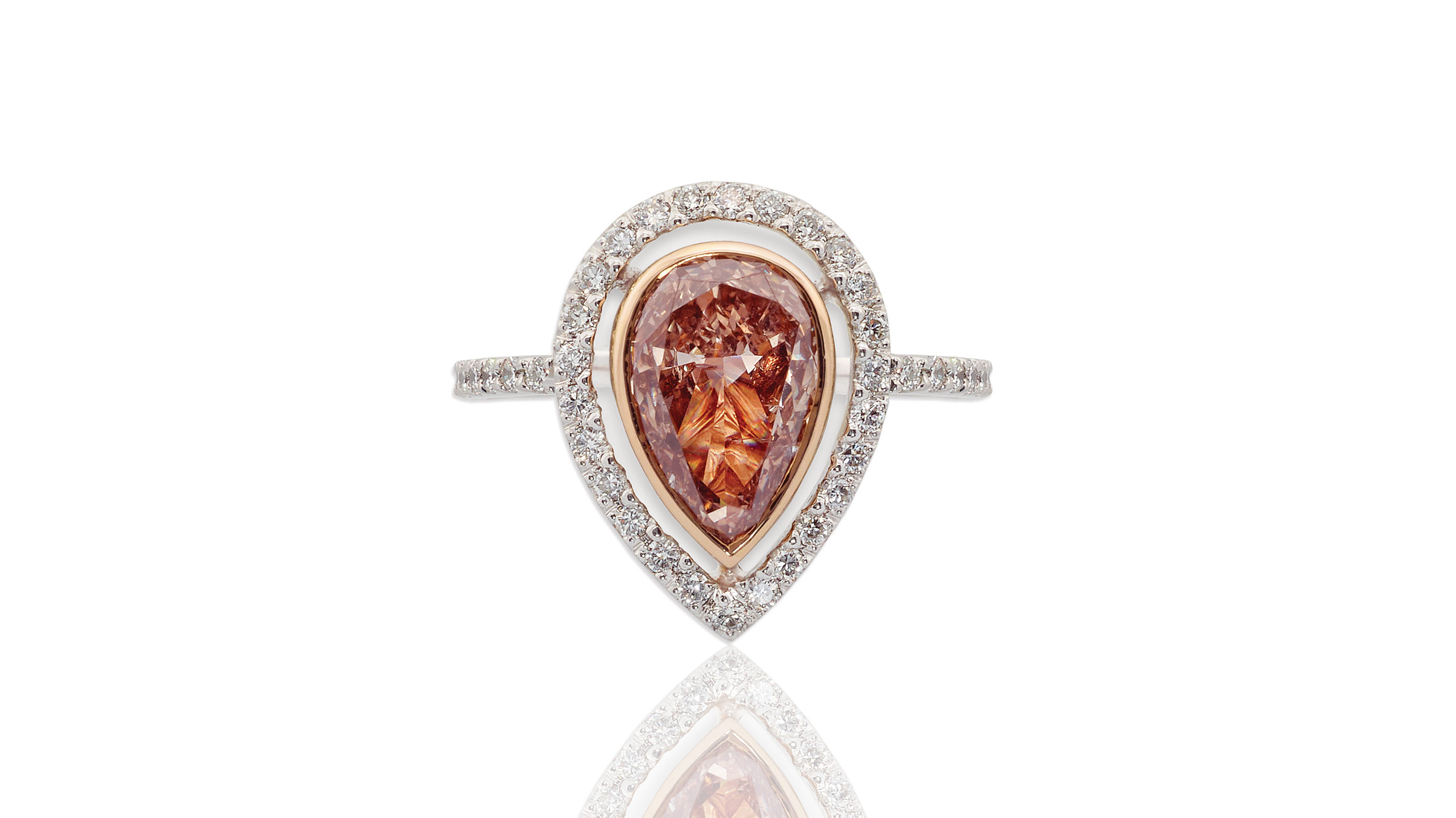 Pinkish Brown Diamond Halo Ring