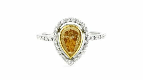 Fancy Brownish Yellow Pear Diamond Halo Ring