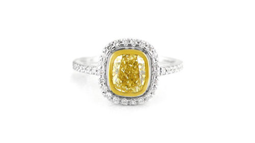 Cushion Cut Yellow Diamond Halo Ring 2
