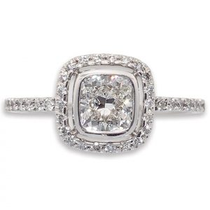 Cushion Cut Halo Ring with Micro-Set Band Set In 18 Carat White Gold | Diamond Rings