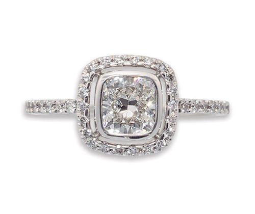 Cushion Cut Halo Ring with Micropavé Band