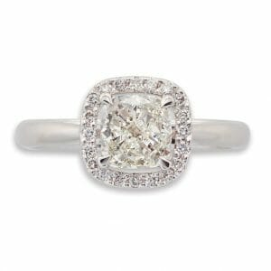 Cushion Cut Halo Ring Set in 18 carat white gold | Diamond Rings