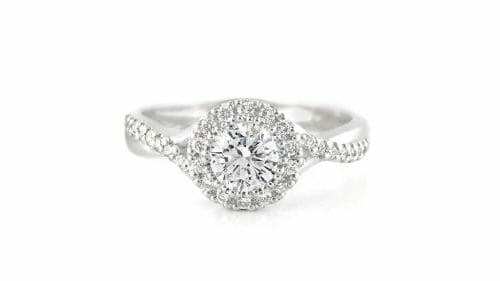 Round Diamond Halo Ring with Intertwined Band