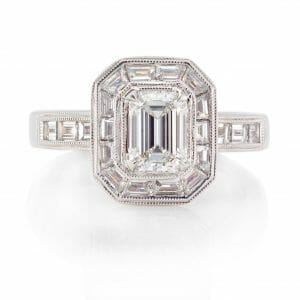 Emerald Cut & Baguette Diamond Ring | White Gold Vintage Inspired Diamond Ring | Emerald & Baguette Cut Diamond Halo Ring