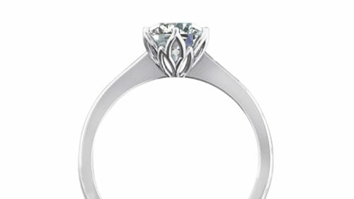 Petal Solitaire Ring | A delicate floral design set in 18 carat white gold