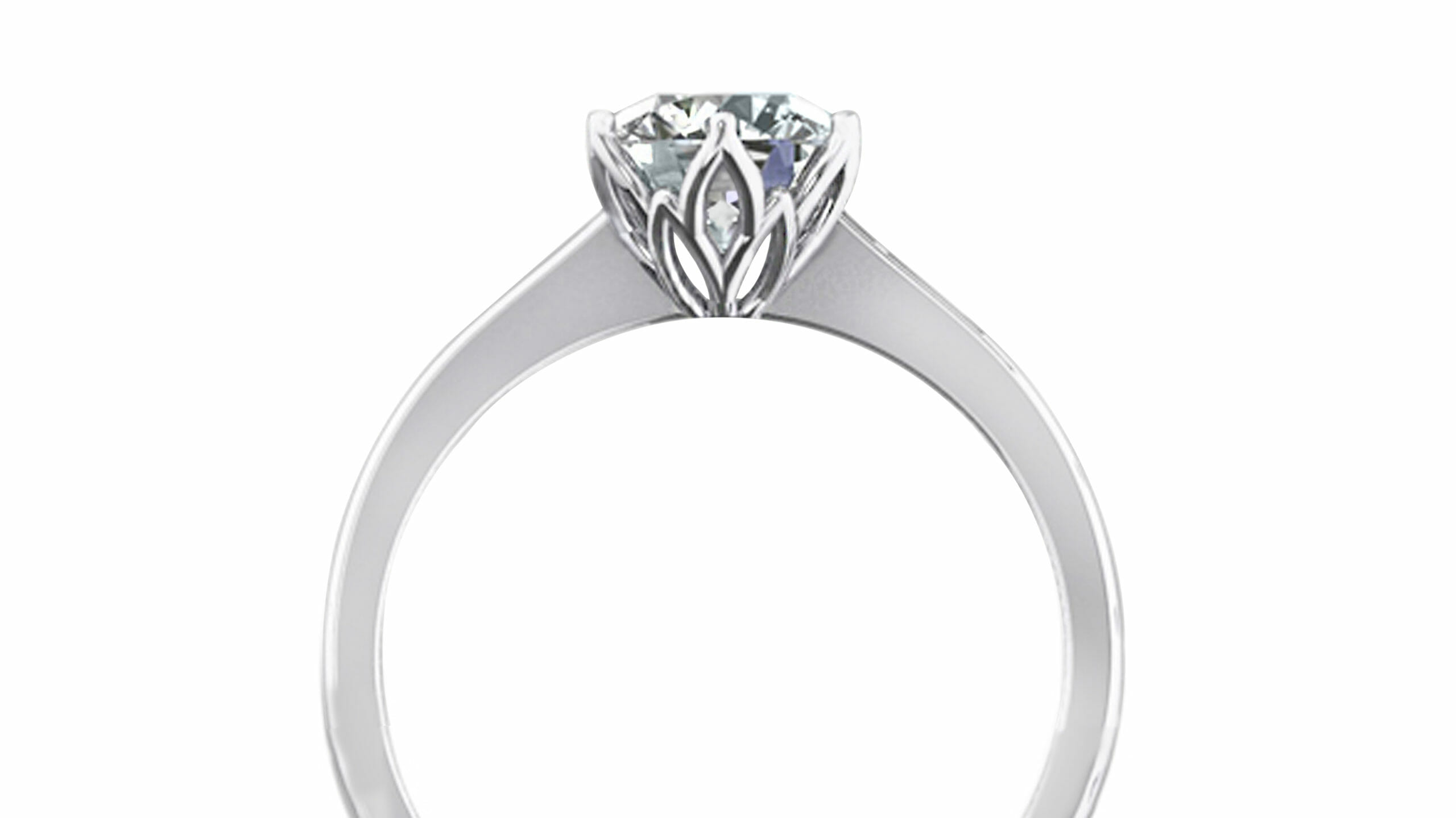 diamond engagement ring | Petal solitaire engagement ring set in white gold