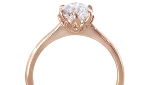 Rose Gold Diamond Petal Solitaire | Diamond Rings