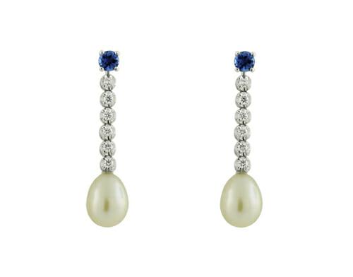 Tanzanite & diamond pearl drop earrings