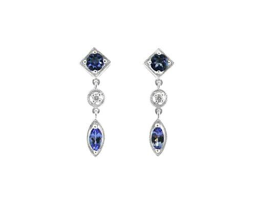 Rare Tanzanite & Diamond Earrings 8
