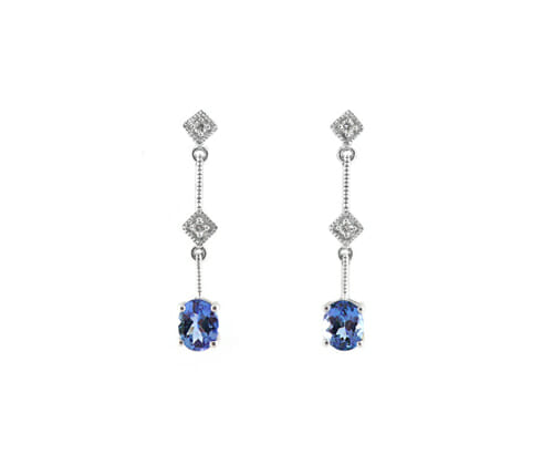 Rare Tanzanite & Diamond Earrings 9
