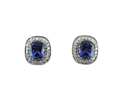 Rare Tanzanite & Diamond Earrings 1