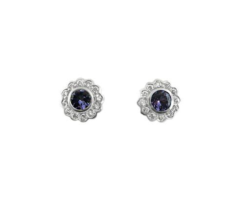 Rare Tanzanite & Diamond Earrings 2
