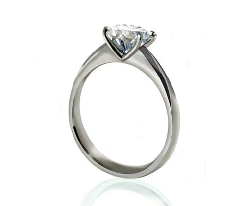 Diamond Rings Jewellery Collection | White Gold MS Signature Solitiare Diamond Engagement Ring