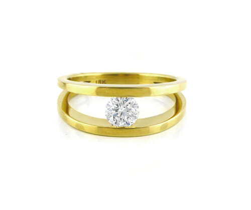 Solitaire Engagement Ring 017 | Yellow gold tension set diamond solitaire ring