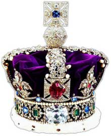 The British Imperial State Crown featuring the Lesser Star of Africa