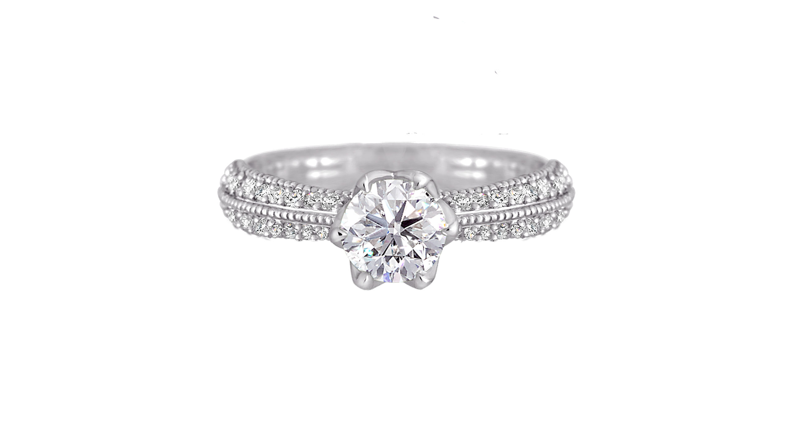 Tulip Ring | Diamond Ring in Platinum with diamonds down the band