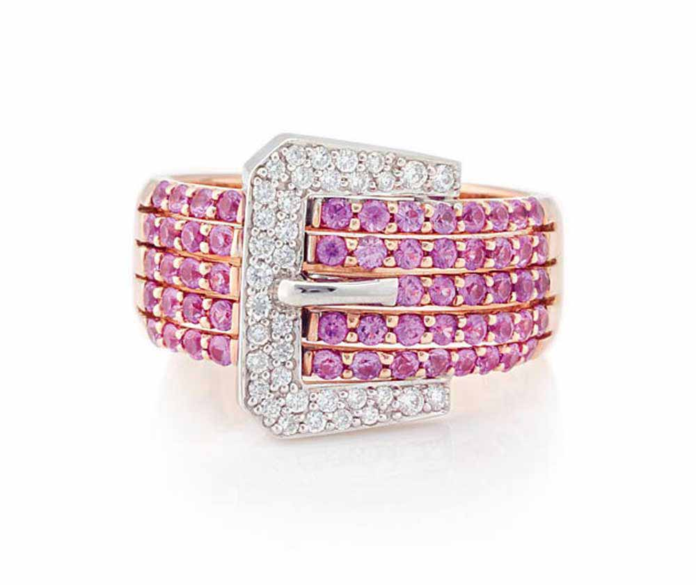 Pink sapphire coloured gemstone and diamond belt buckle ring | Rose and white gold
