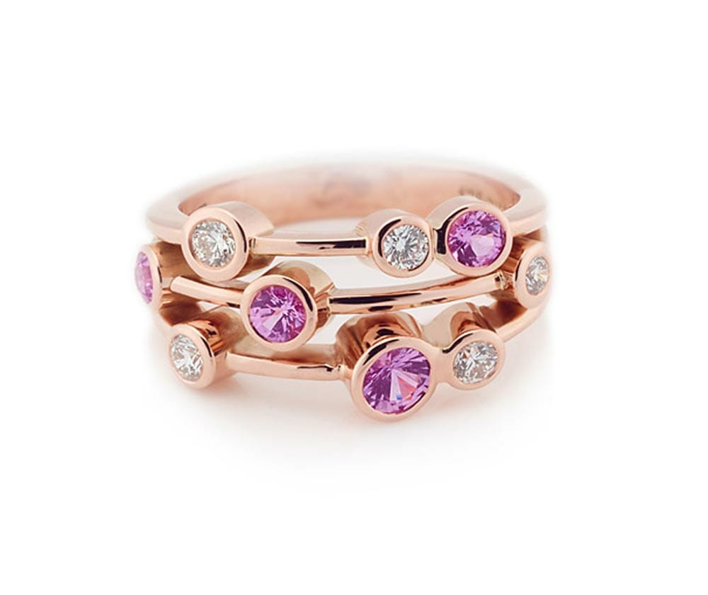 Pink sapphire coloured gemstone and diamond bubble rose gold ring