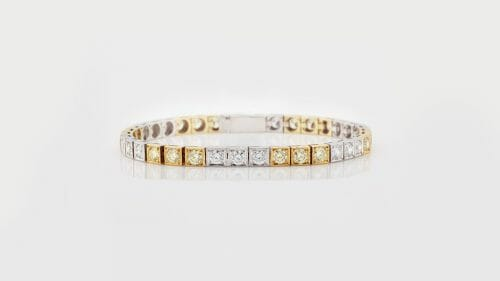 Two-Tone Square-Set Tennis Bracelet