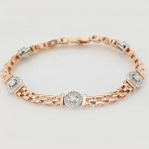 Rose Gold Cluster and Link Diamond Bracelet | Mark Solomon Jewellers 18 carat white and rose gold diamond bracelets with diamond halos and fancy gold links