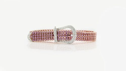 Pink Sapphire and Diamond Belt Bracelet