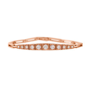 Square-Set Diamond Bracelet | An 18 carat rose gold and graduated diamond bracelet