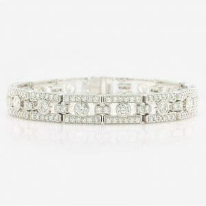 antique-style deco bracelet set in 14 carat white gold