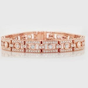 rose gold antique-style deco bracelet set in 14 carat rose gold
