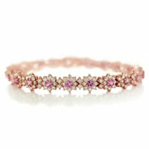 pink sapphire and diamond floral bracelet