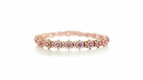 pink sapphire and diamond floral bracelet