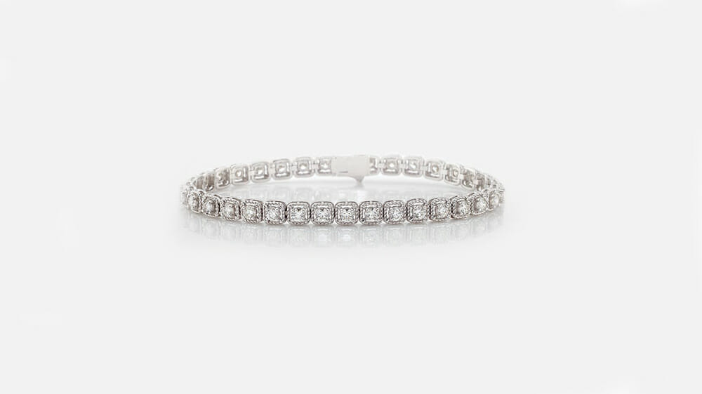 cushion vintage-style rope tennis bracelet set in 18 carat white gold | Diamond Tennis Bracelets