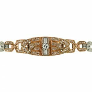 Rose and White Gold Gatsby Bracelet | An 18 carat white and rose gold vintage inspired diamond bracelet