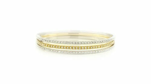White and Yellow Gold Micro Claw-Set Diamond Bangles